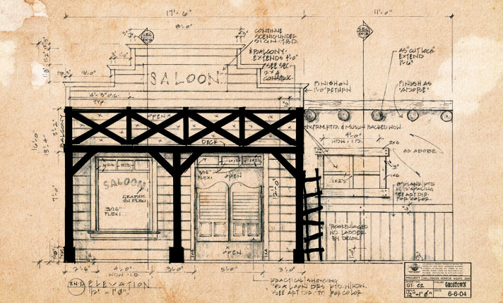 HHN XIV | Ghost Town House Elevation Drawing