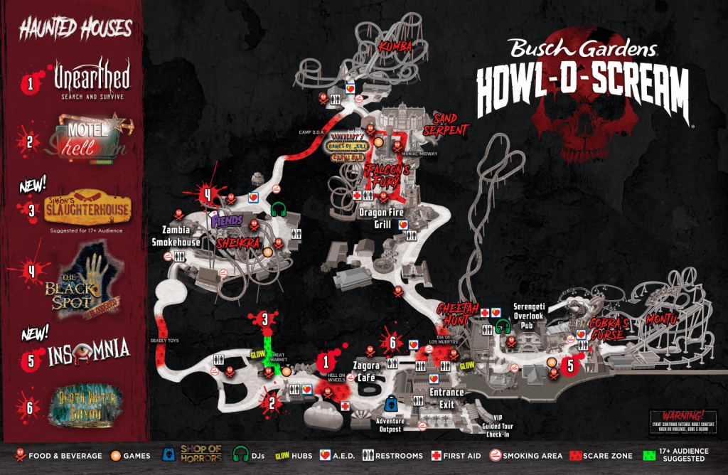 Howl-O-Scream Map | 2018