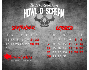 Howl-O-Scream Event Dates | 2018
